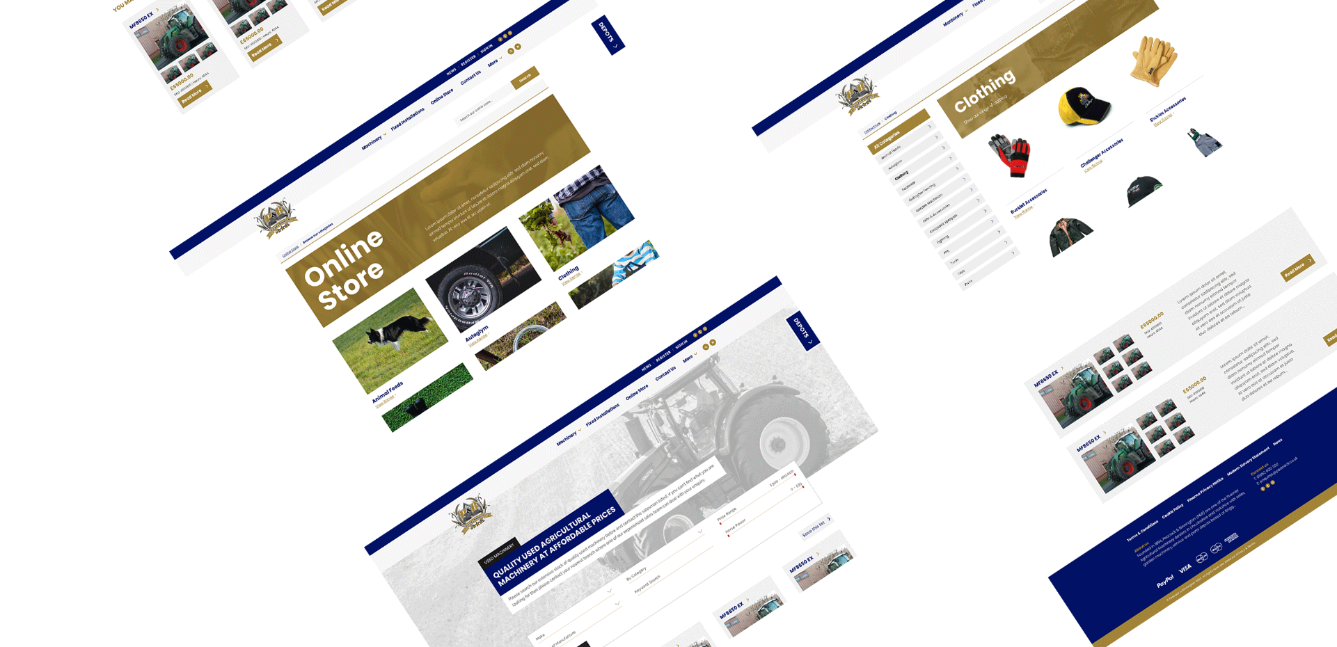 Mock-up showing various pages of the Peacock and Binnington website laid out on a white background. Featured are visuals of their online e-commerce store category pages.