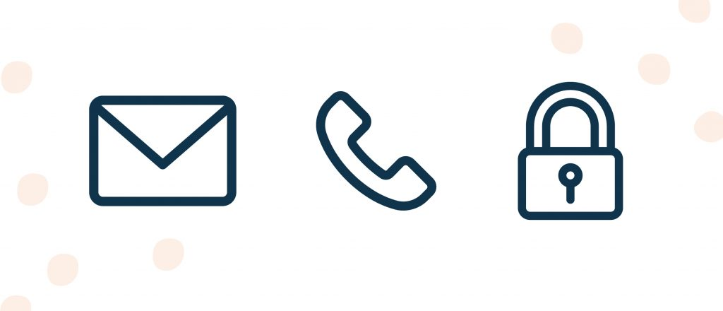 Envelope icon, phone icon, padlock icon all lined up next to one another.