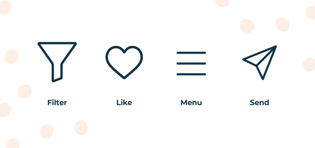 Icons with labels underneath them. A funnel icon with the word filter as a label, a heart with the word like as a label, a hamburger icon made up of three parallel lines with a menu label underneath and a paper aeroplane icon with the word send underneath.