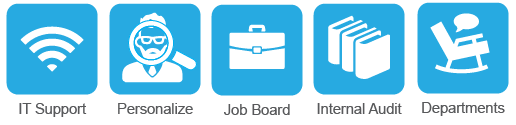 Collection of five icons with labels. The first is Wi-Fi bars with a IT Support label. Second is a man icon with a Personalize label. Third is a briefcase with a Job Board label. Forth is three books with a Internal Audit label. Fifth is a rocking chair with a Departments label.