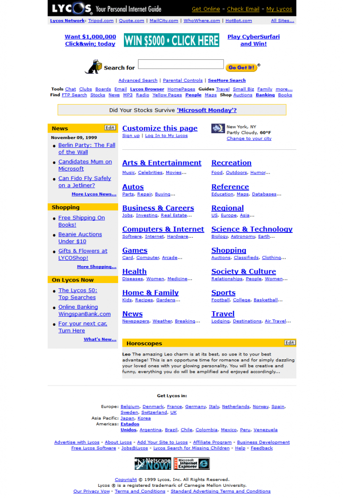 white space is important - Lycos in 1999