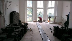 Laying the centre line parquet